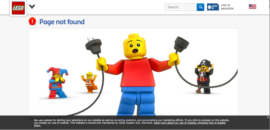 LEGO website with creative 404 error page