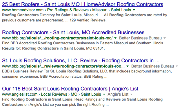 Google search st louis roofing company reviews