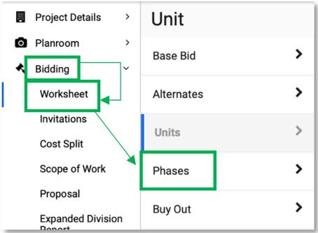 Bidding Worksheet Phases