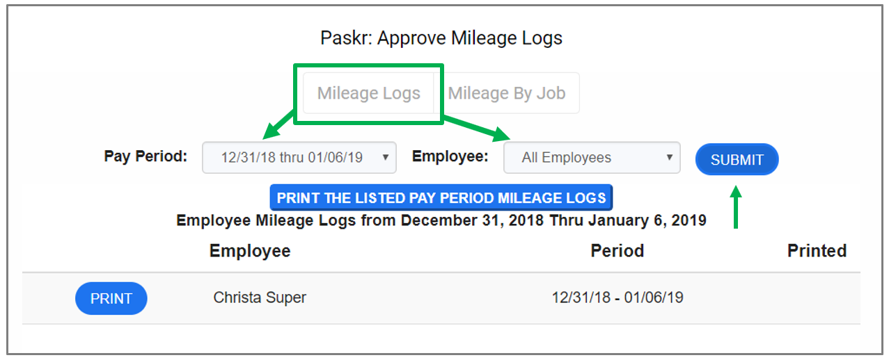 Mileage logs by pay period or employee