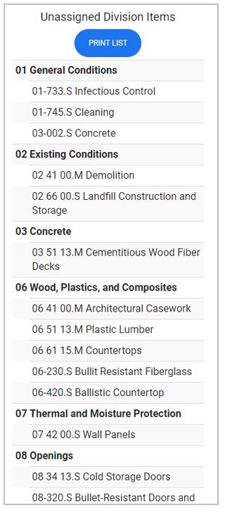 Print Unassigned cost codes