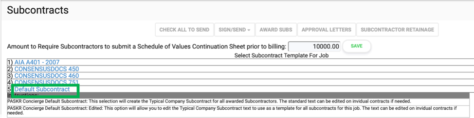 Select Subcontract