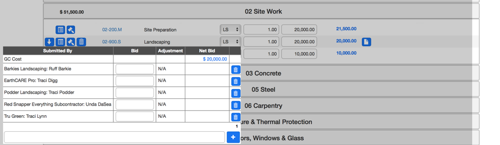 remove bidder from estimate worksheet