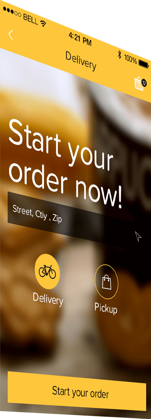 Custom mobile app for restaurants - delivery