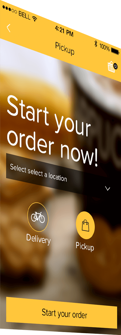Custom mobile app for restaurants - order ahead