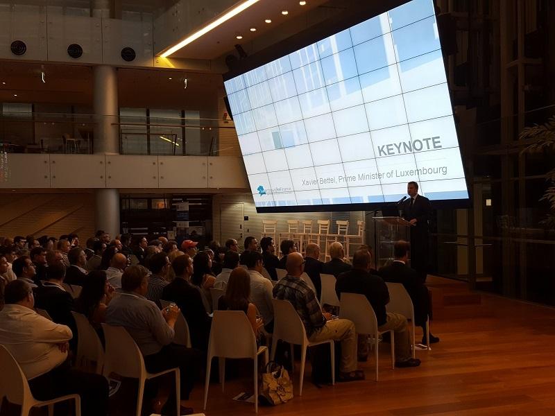 Keynote of Xavier Bettel, Prime Minister of Luxembourg, addressing audience at Tel Aviv Stock Exchange