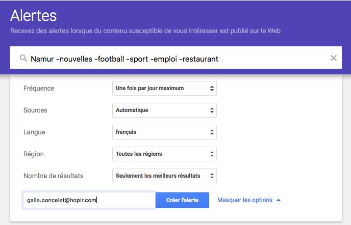 instructions comment créer une alerte Google
