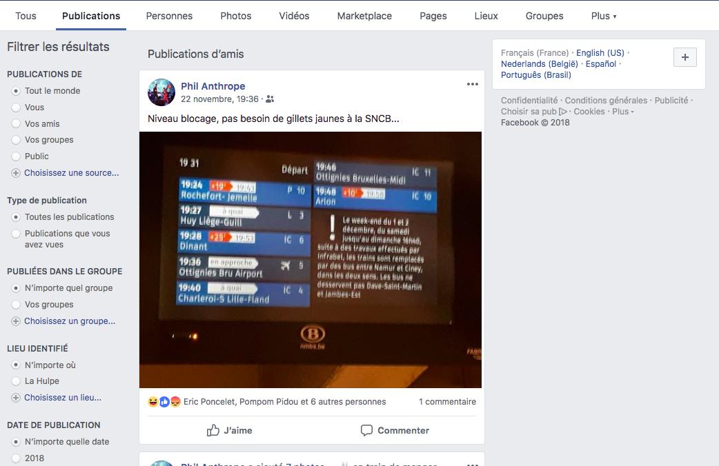 une recherche sur Facebook est montré