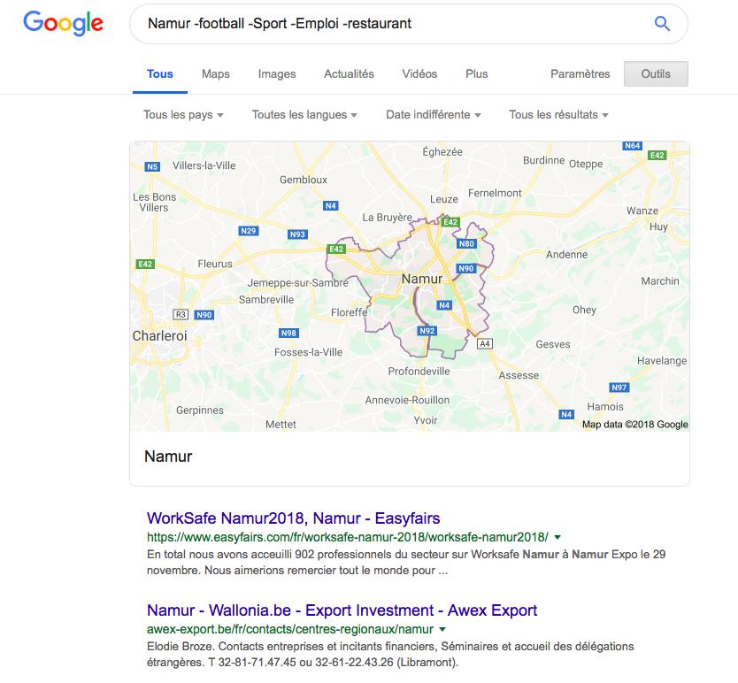 Recherche sur Google à propos de Namur