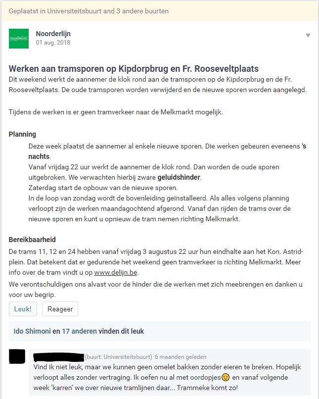 Noorderlijn communicatie op Hoplr