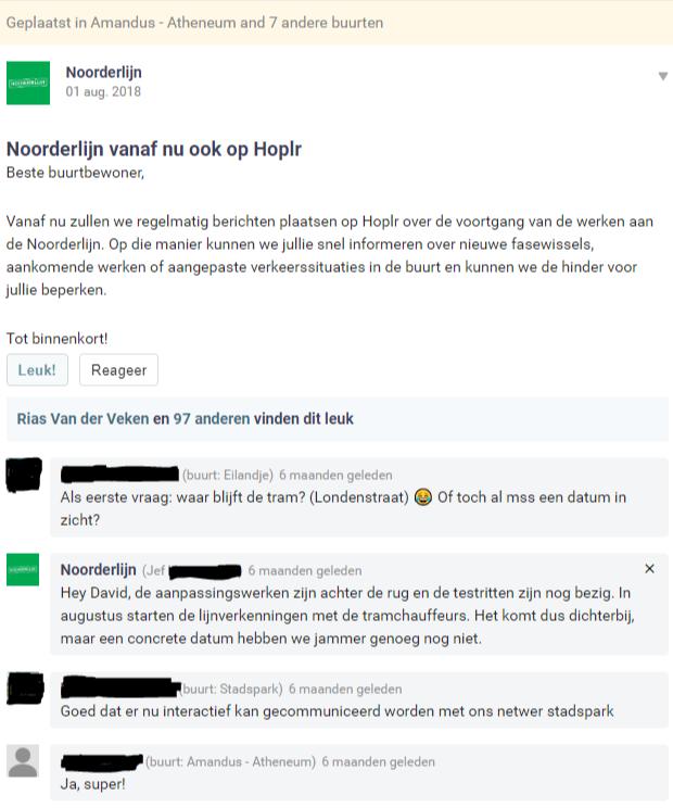 Introductiebericht Noorderlijn op Hoplr