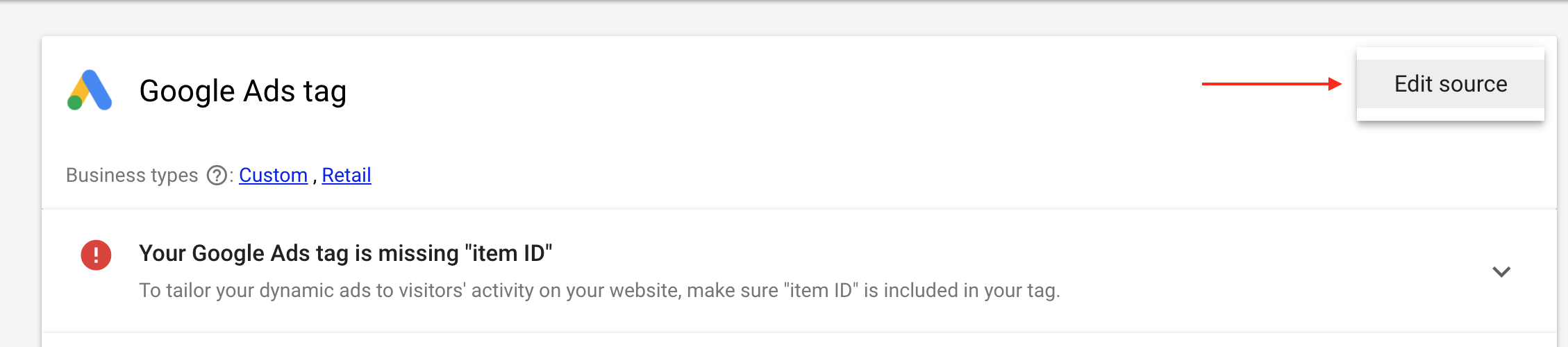 """Your Google Ads Tag is Missing """"Item ID"""""""