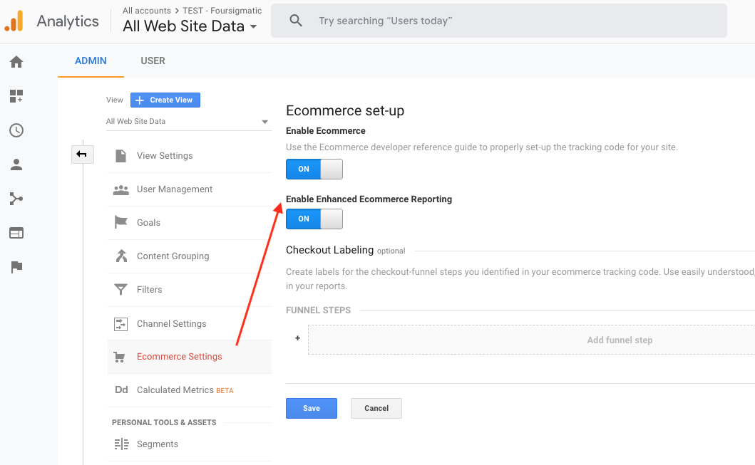enable ecommerce reporting