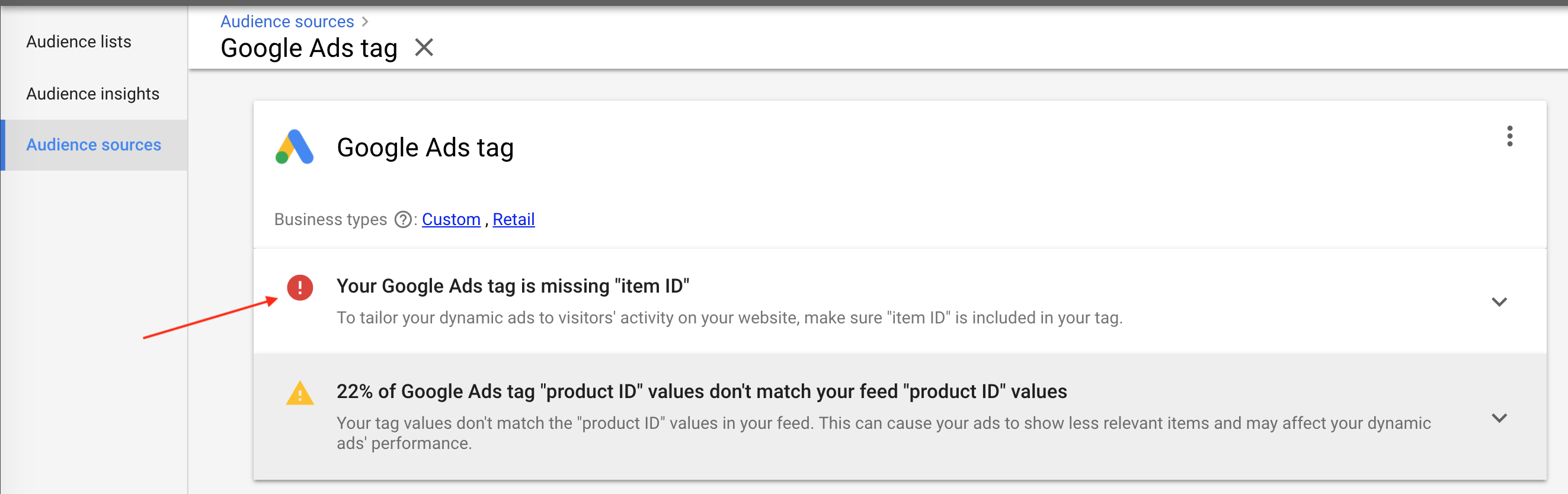 """22% Google Ads Tag """"product ID"""" values don't match your feed """"product ID"""" values"""
