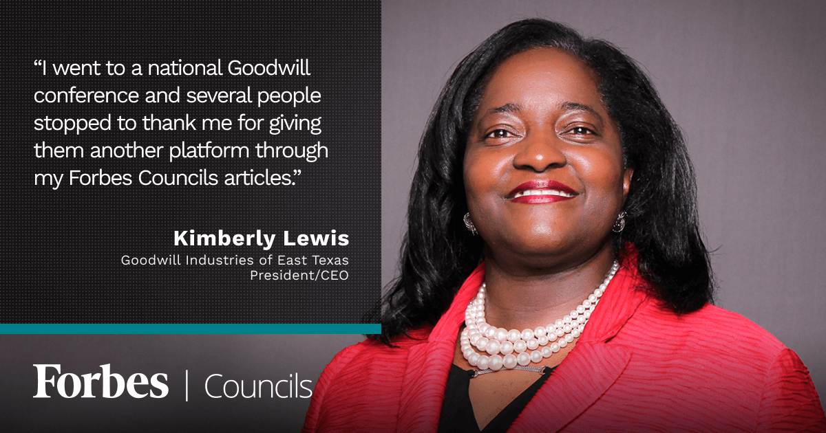 Kimberly Lewis Says Her Forbes Councils Articles Help Promote the Goodwill Brand Nationwide