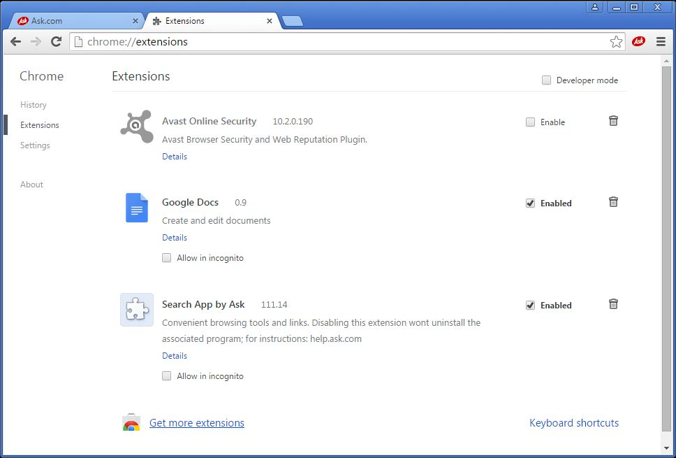 How to remove Ask toolbar from your Chrome browser - step 2