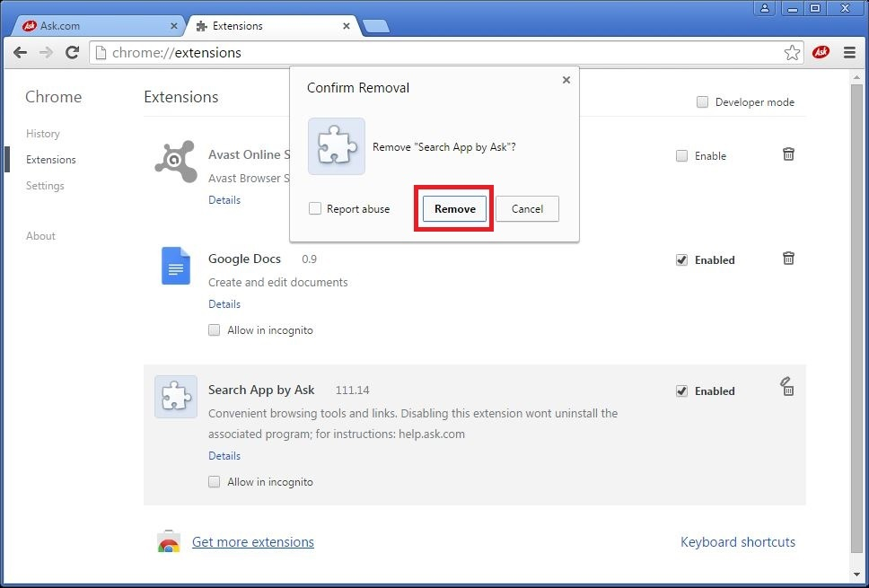 How to remove Ask toolbar from your Chrome browser - step 4