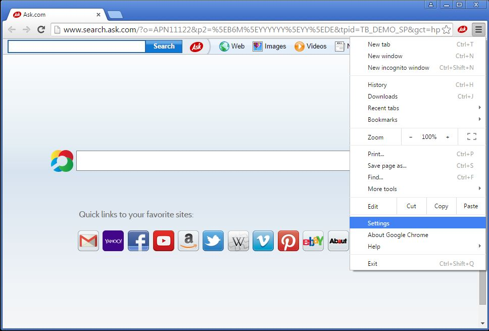 How to remove Ask toolbar from your Chrome browser - step 1