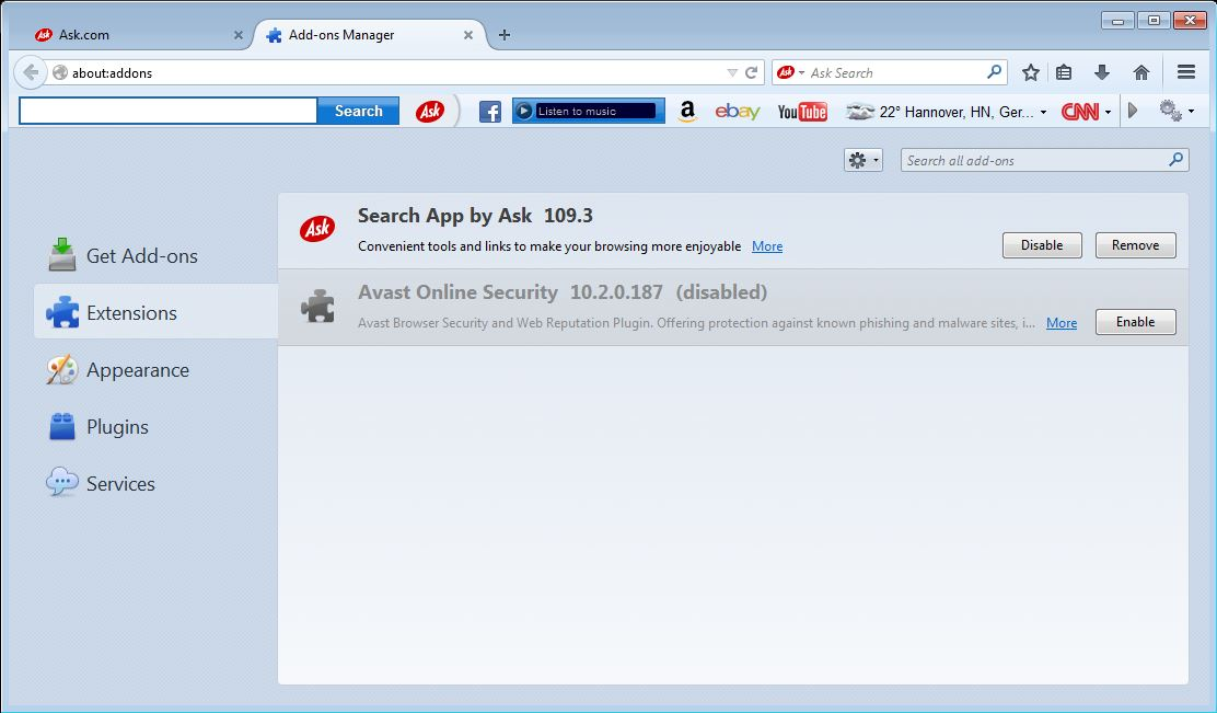How to remove Ask toolbar from your Firefox browser - step 2