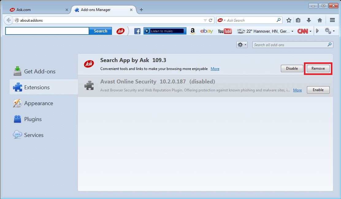 How to remove Ask toolbar from your Firefox browser - step 3