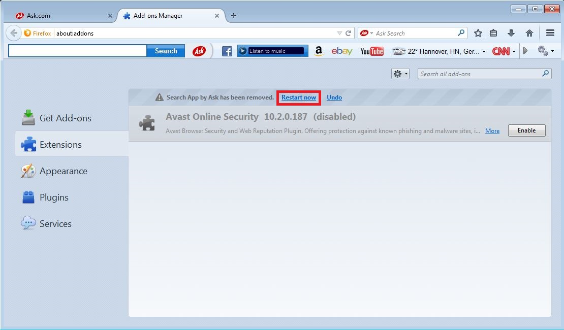 How to remove Ask toolbar from your Firefox browser - step 4