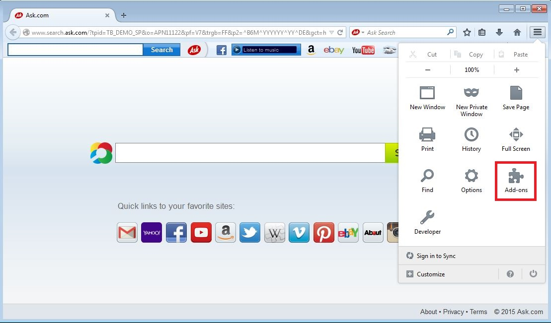 How to remove Ask toolbar from your Firefox browser - step 1