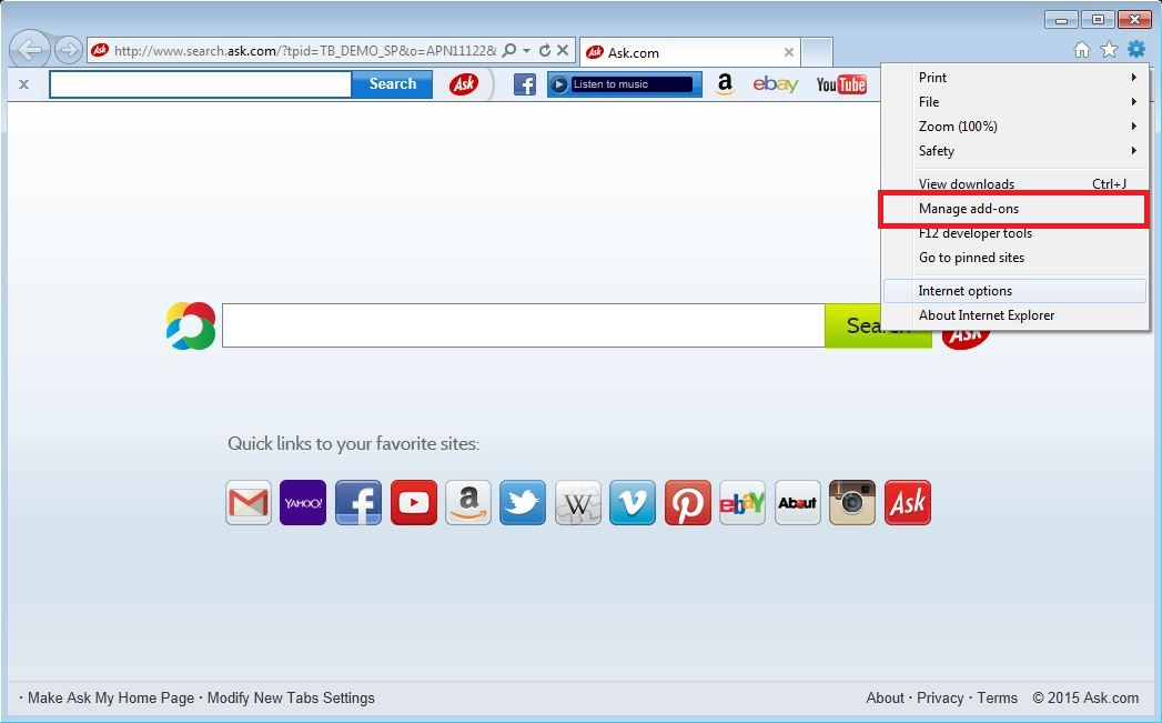 how to remove ask toolbar in internet explorer