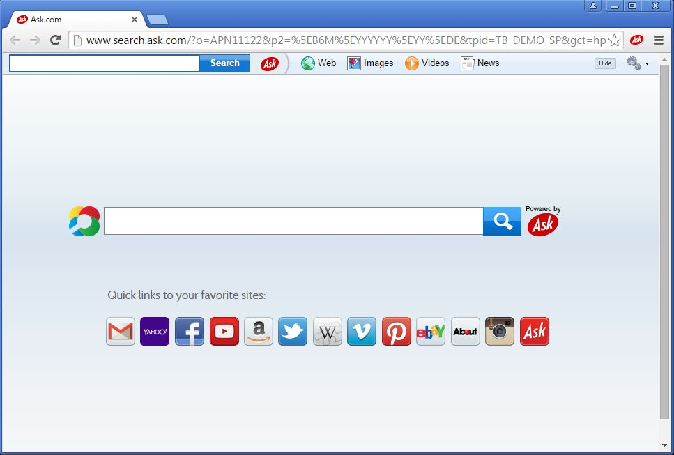 How to recognize that an Ask toolbar has been installed on my browser - example 2