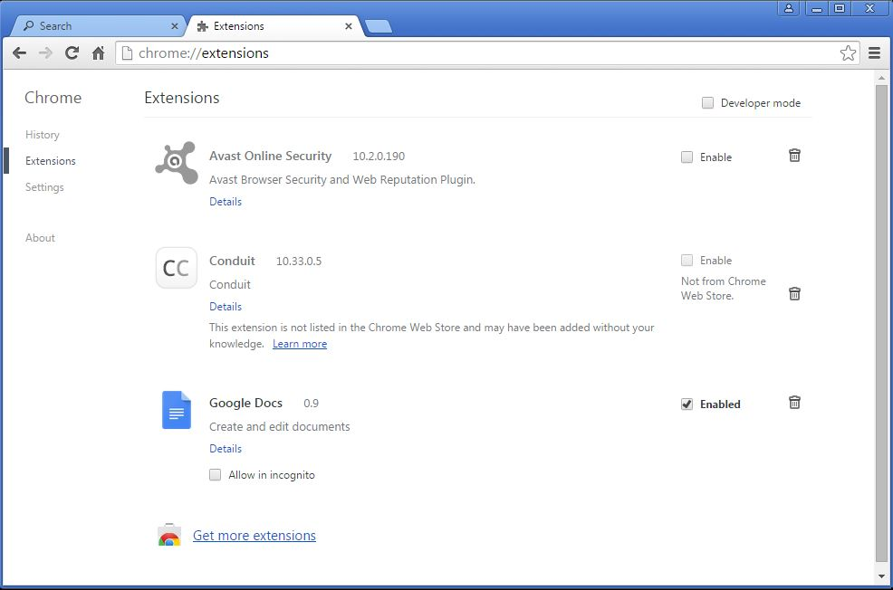 How to remove Conduit toolbar from your Chrome browser - step 2