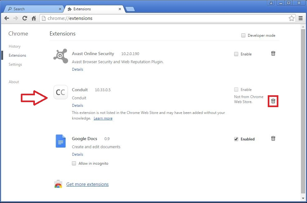 How to remove Conduit toolbar from your Chrome browser - step 3