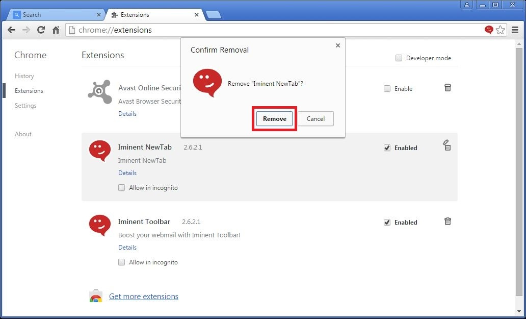 How to remove Iminent toolbar from your Chrome browser - step 4a
