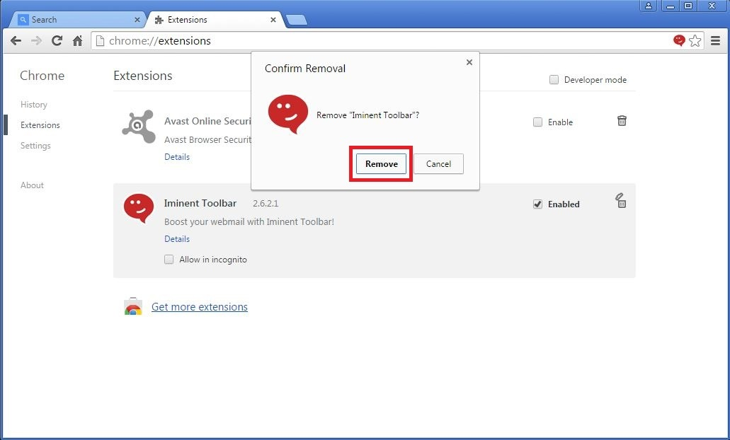 How to remove Iminent toolbar from your Chrome browser - step 4b