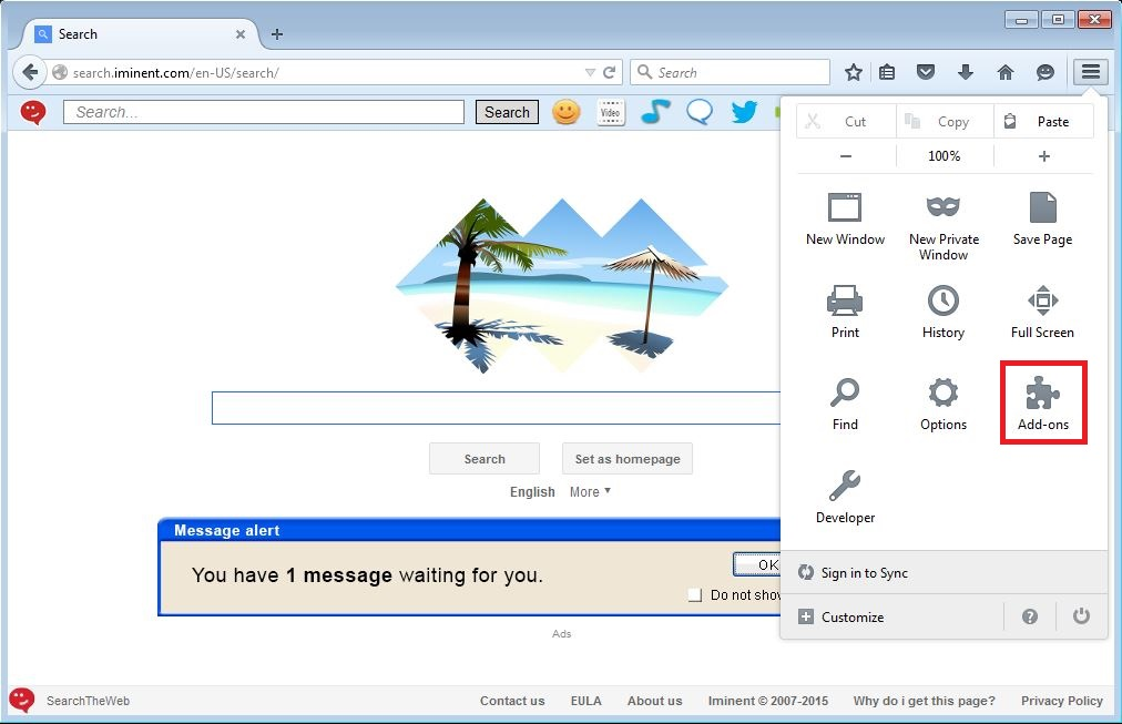 How to remove Iminent toolbar from your Firefox browser - step 1