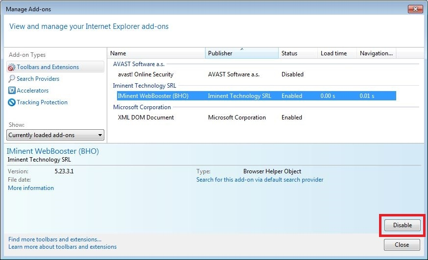 How to remove Iminent toolbar from your Internet Explorer browser - step 4