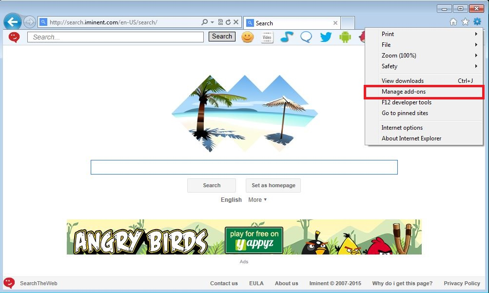 How to remove Iminent toolbar from your Internet Explorer browser - step 1