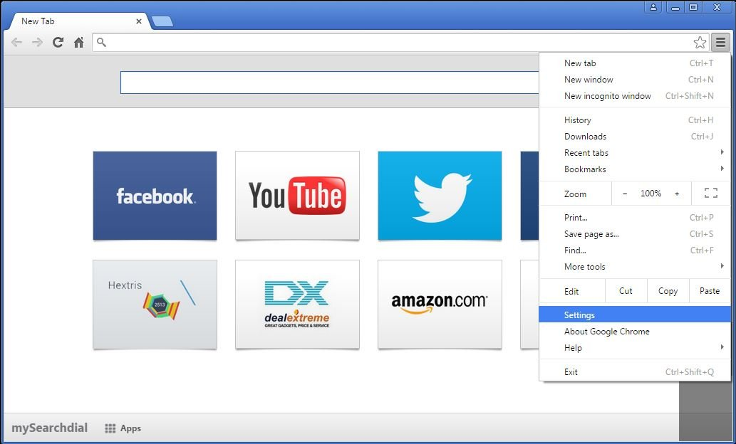 How to remove MySearchDial toolbar from your Chrome browser - step 1