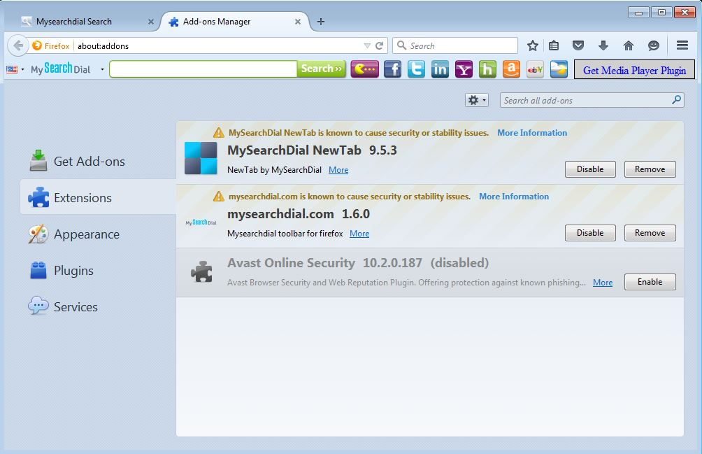 How to remove MySearchDial toolbar from your Firefox browser - step 2