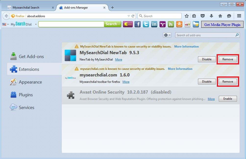 How to remove MySearchDial toolbar from your Firefox browser - step 3