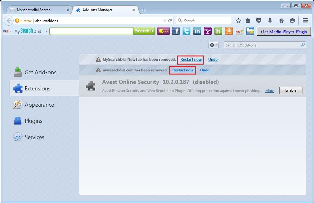 How to remove MySearchDial toolbar from your Firefox browser - step 4