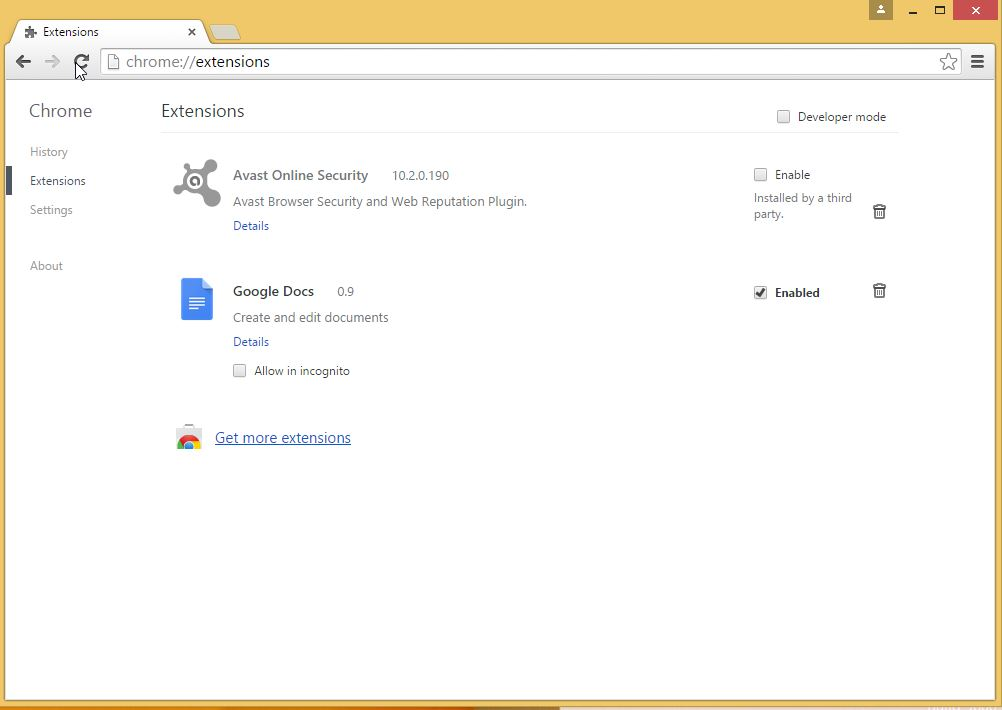 How to remove Snap.do toolbar from your Chrome browser - step 5