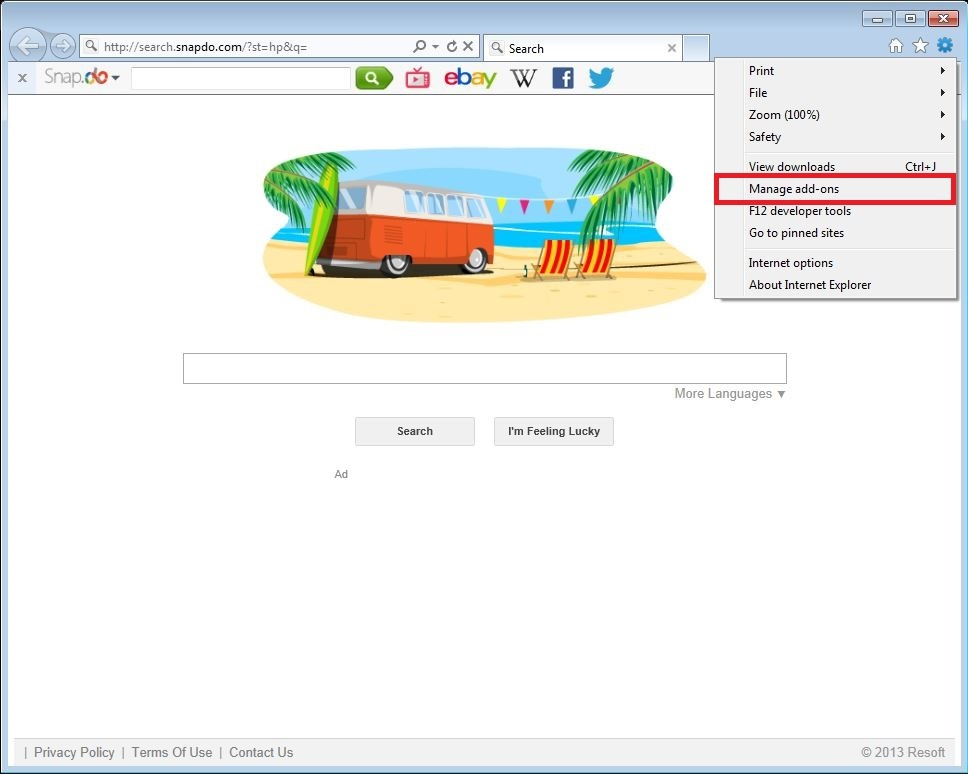 How to remove Snap.do toolbar from your Internet Explorer browser - step 1