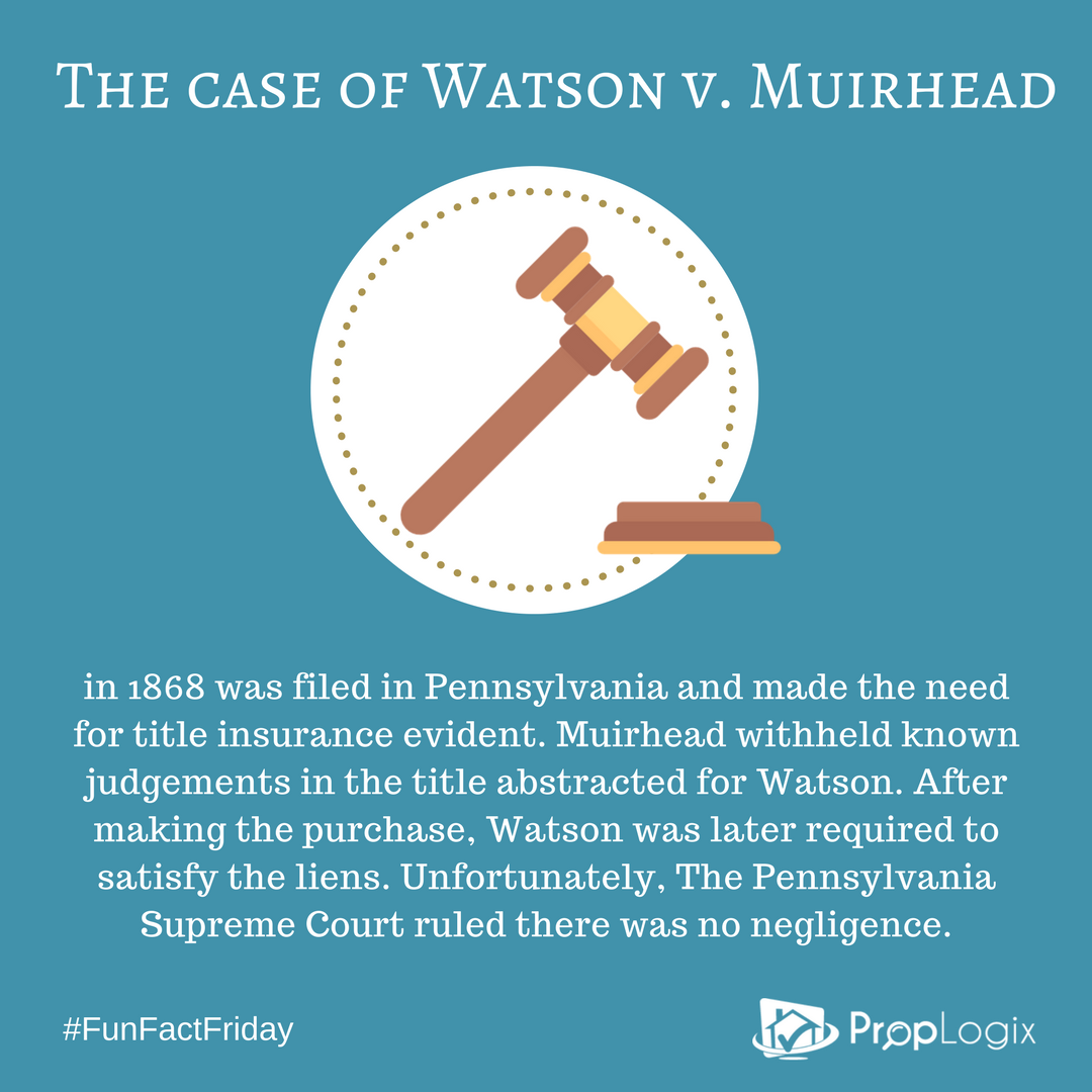 Watson v. Muirhead was a pivotal case for the title insurance industry
