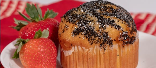 Muffin with black edible glitter imitating coal
