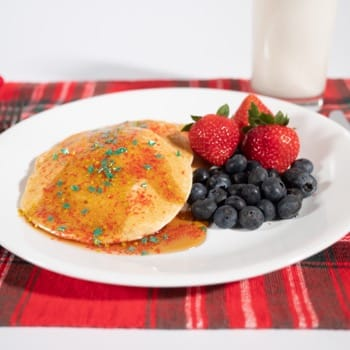 red and gold edible glitter on pancakes