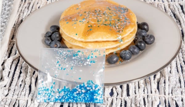 Edible Glitter packet with pancakes blue and silver