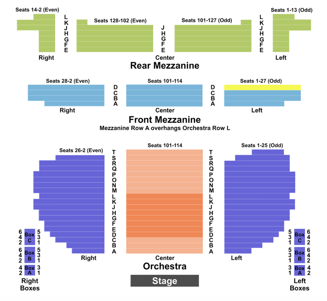 Eugene Oneill Seating Chart Section Row Seat Number Info