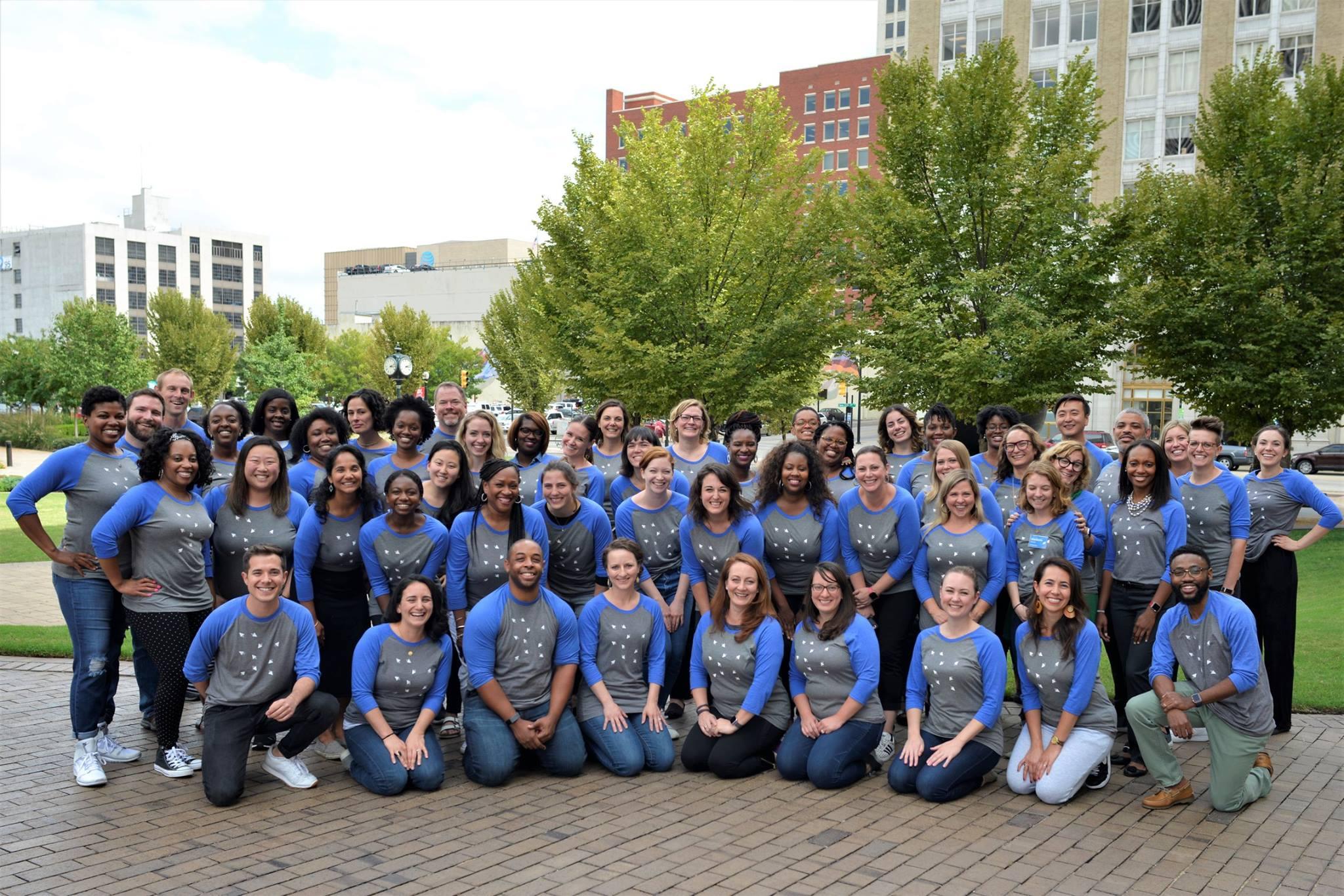 Leading Educators team wearing newly branded tshirts