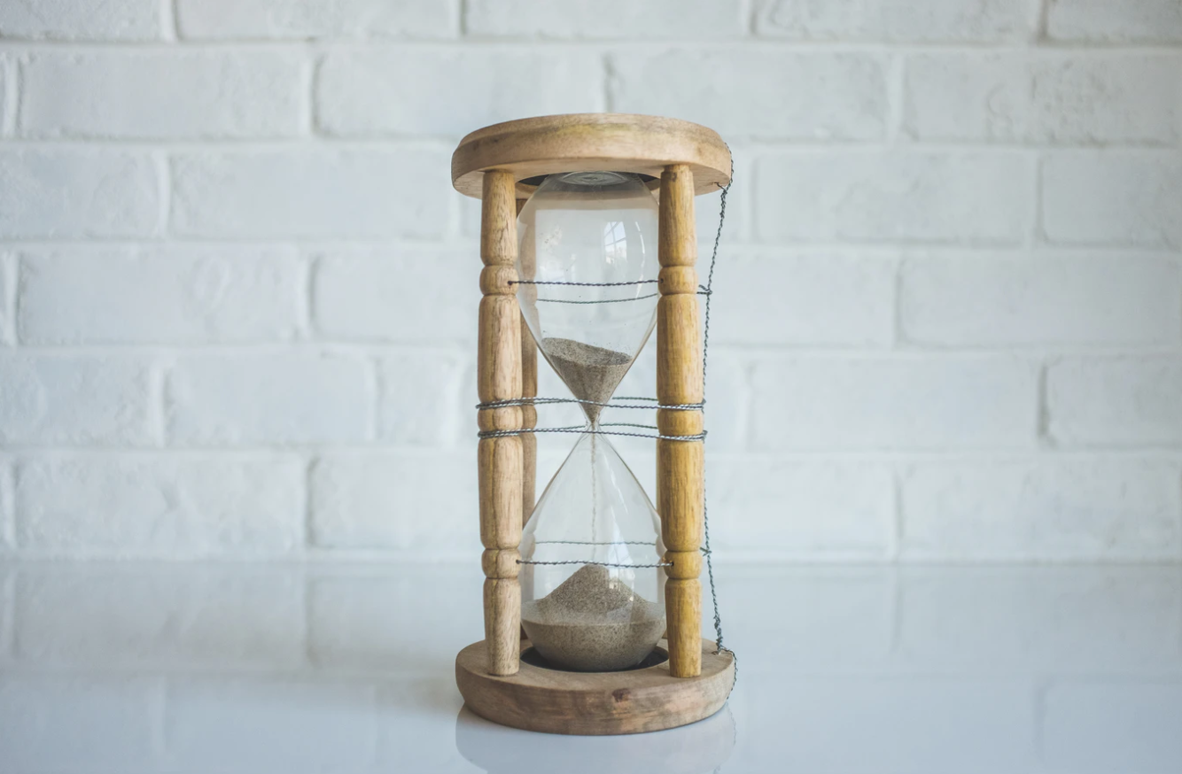 sand timer on table