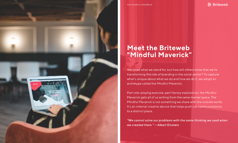 woman on computer next to Briteweb's brand personality introduction page