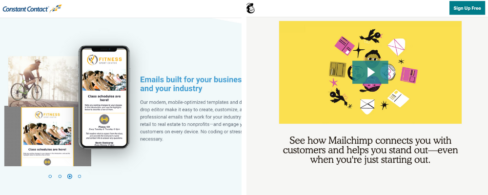 Screenshots of Constant Contact and Mailchimp homepages